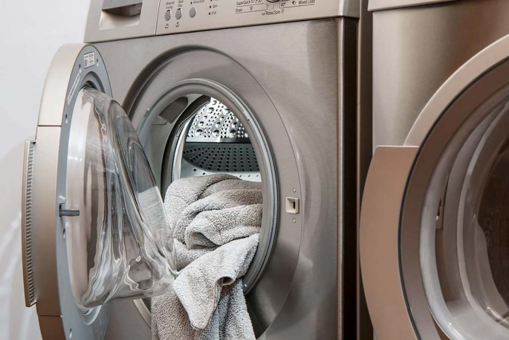 Towels in an open laundry machine